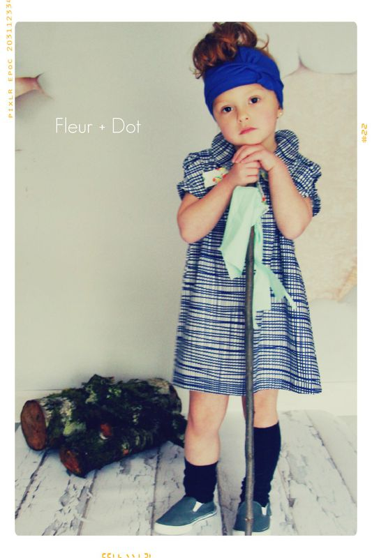 The Blue Grid Bow Shift with Peter Pan Collar Girls Dress from the Fleur + Dot Autumn Winter 12 Collection - product images  of